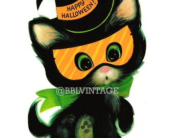 Vintage Digital Greeting Card: Black Cat with Masquerade Mask Halloween Card - Digital Download, Printable, Scrapbooking, Image, Clip Art