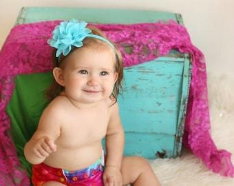Turquoise Chiffon Baby Headband Turquoise Baby Headband Turquoise Headband Turquoise Shabby Chic Baby Headband Turquoise Newborn Headband