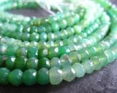 Shaded Chrysoprase faceted rondelle beads - 13 1/2 inch strand -  4mm
