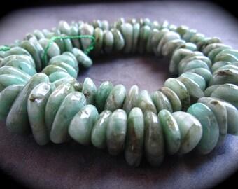 Emerald beads - large smooth polished nuggets - semiprecious gemstones green