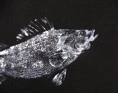 Perch Original GYOTAKU Fish Rubbing Art on Rich Heavy Black cloth Lake House Decor