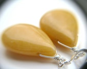 Yellow Stone Earrings . Jade Drop Earrings . Yellow Jade Earrings . Sterling Silver Gemstone Jewelry - Magnolia Collection