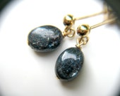 Kyanite Stud Earrings . Blue and Gold Earrings Dangle . Blue Kyanite Earrings . Blue Dangle Post Earrings - Cirrus Collection