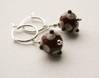 Silver Hoop Glass Lampwork Bead Earrings
