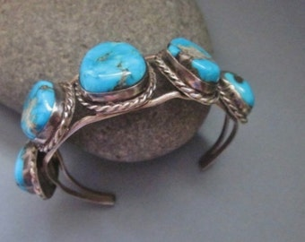 Vintage Native American Sterling and Turquoise Bracelet