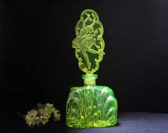 Vintage Czech Uranium Glass Perfume Bottle with Intaglio Stopper girl with butterflies