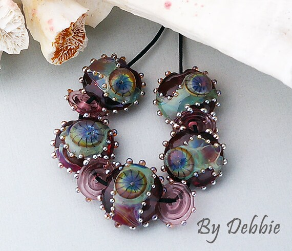DSG (Debbie Sanders Glass) Handmade Organic Lampwork Beads-Purple Night Sky Made To Order Lentil Set