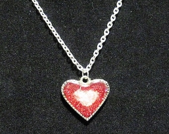 Sparkling Heart Pendant Necklace 18 inch Resin Red Pink