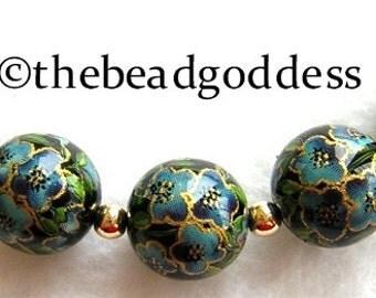 5 Beautiful Japanese Tensha Beads Five Petal BLUE FLOWERS on BLACK 12mm
