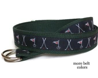 Golf Belt Men's D Ring Belt / Canvas Belt for men boys, Big & Tall men / Webbing Belt - Golf on Khaki  Navy Green and White