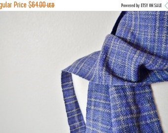 October Sale Women's Woven Scarf - Handwoven Fall Fashion in Purple and Grey Faux Plaid Pattern. Fringey Scarf, Traditional Scarf.