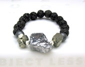 Silver Titanium Quartz Statement Beaded Bracelet Silver and Chocolate Brown Modern Stretch Bracelet