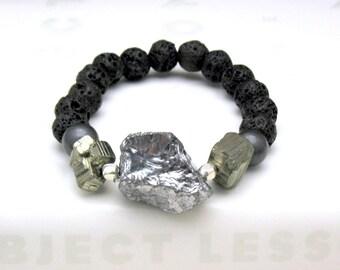 Silver Titanium Quartz Statement Beaded Bracelet Silver and Chocolate Brown Modern Stretch Bracelet