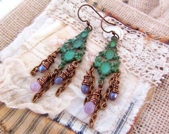 Chandelier bohemian earrings gift for her under 30 Gypsy Boho jewelry