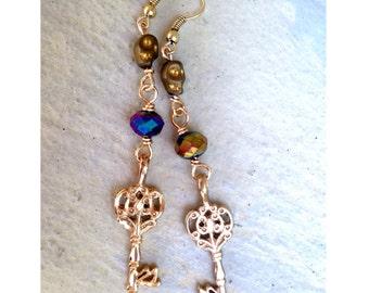 Skeleton Key Earrings // One of a Kind Play on Words Earrings
