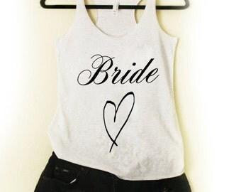 1 Bride tank Wedding Tank Bride to Be Engagement Bachelorette Party Team Bride TriBlend Tank Top