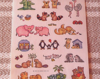 Vintage 1992 Hallmark Cute Animal Sweetheart Pairs Stickers Sheet