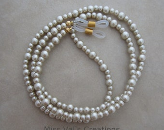 beige pearl eyeglass chain holder gold ends