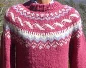 vintage 80s SKI sweater wool snowflake nordic hand knit fair isle yoke pink irish fisherman Medium 42