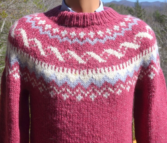 vintage 80s SKI sweater wool snowflake nordic hand knit fair isle yoke pink irish fisherman Medium 42
