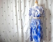 Vintage Blue and White Dress, New With Tags, Large, Extra Large, British Lady, Print