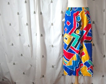 Vintage 1980s Colorful Graphic Print Skirt, Knee Length, Elastic Waist, Size Extra Large, 38, Plus, New With Tags, Deadstock Gem