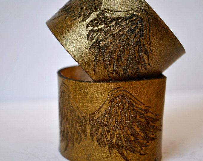 ANGEL WINGS | Gold Leather Cuff Angel Wings, Unique Gift for her, Gold Leather Bracelet, Gold Love, gift