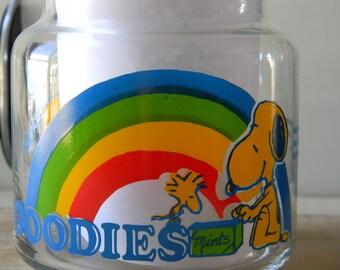 Snoopy glass goodies jar with Woodstock 1965