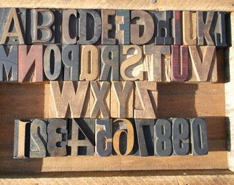 50% OFF with Coupon Code NEWYEAR2016 - Beautiful Mixed Letterpress Alphabet and Numbers Set - 36 Items - Lot 507