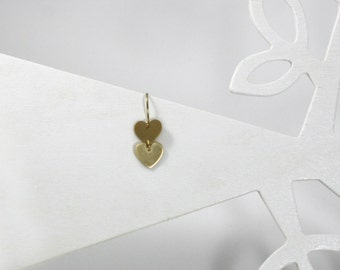 Gold Heart Earrings, Dainty Gold Earrings, Tiny Gold Heart Earrings, Gold Hammered Earrings