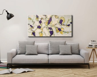 Large abstract painting Artwork painting contemporary modern abstract painting purple yellow