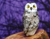 Snowy Owl lampwork - glass bead by Cleo Dunsmore Buchanan Grama Tortoise 38 animal bird  raptor sculpture