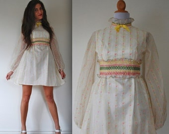 SALE SECTION / 40% OFF Vintage 60s 70s Tulip Striped Organza Party Dress (size xs, small)