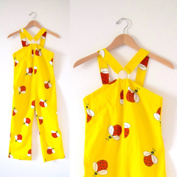SPRING SALE/ 20% off Vintage 70s Yellow Cotton Ladybug Print Girl's Overalls