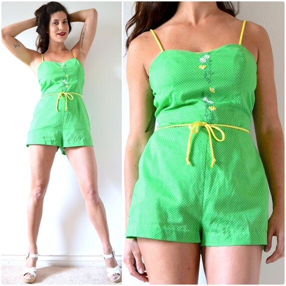 SPRING SALE/ 20% off Vintage 60s 70s Green Polka Dot Floral Embroidered Playsuit (size small, medium)
