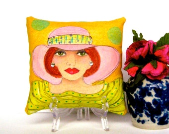 LOLA MIDLIFE MADONNA hand painted pillow,  gift for woman, fun quote, birthday gift, fedora hat, mustard, soft pink, Christmas gift