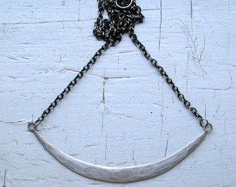 Sterling Silver Statement Crescent Necklace
