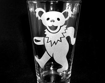 Grateful Dead Pint Glass Dancing Bear Sandblast Etched Beer or Iced Tea Pub