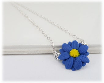 Tiny Aster Blue Flower Necklace - Aster Jewelry, Blue Daisy, September Birthday Birth Flower