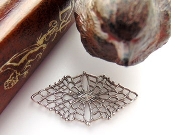 SILVER Filigree Web Antique Silver Ox Brass Stamping - Jewelry Findings (CA-3071 A)  #