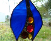Abstract Blue #13 - Small Suncatcher - Stained Glass Tulip