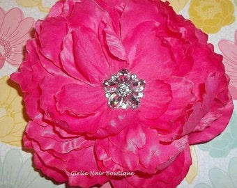"Hot Pink Flower Clip Hot Pink Hair Clip 5"" Peony Hair Clip Rhinestone Clip Wedding Bridesmaid Flower Girl Valentine's Day Pink Hair Flower"