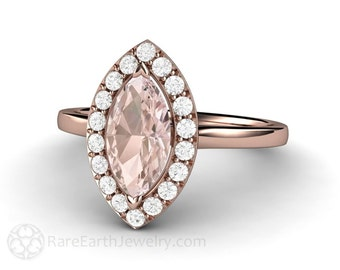 Marquise Morganite Ring Morganite Engagement Ring Diamond Halo 14K or 18K Rose Gold Pink Gemstone Ring