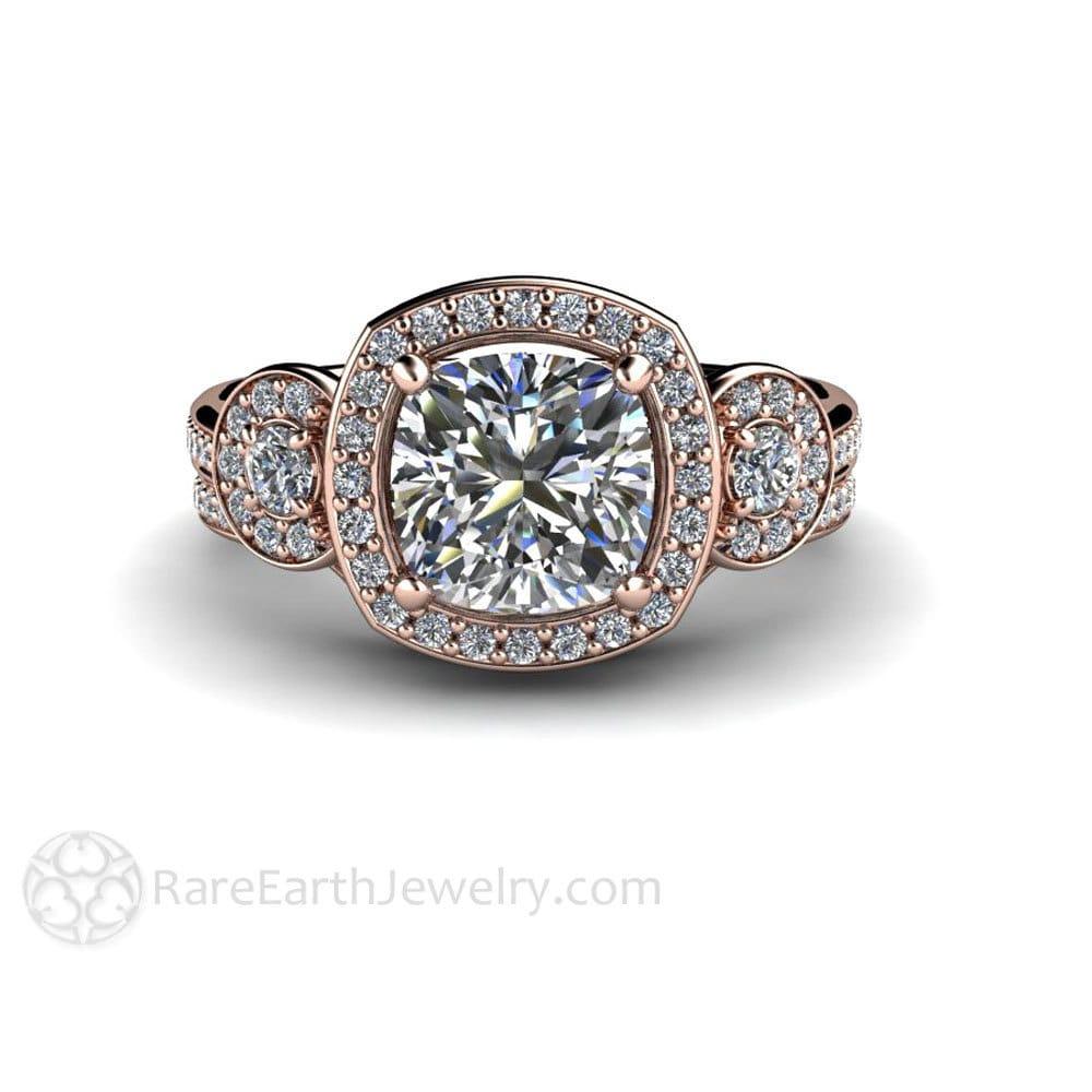 cushion moissanite wedding set engagement ring wedding