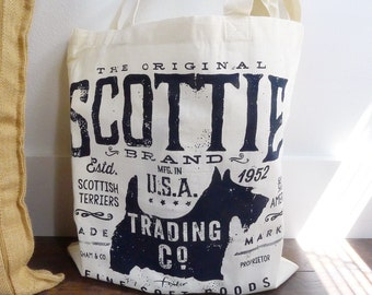 Scottie Trading Company scottish terrier dog artwork typography screen printed illustration cotton tote bag