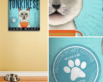 Tonkinese cat coffee art Company graphic artwork on gallery wrapped canvas by stephen fowler