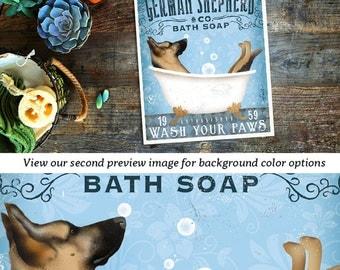 German Shepherd dog bath soap Company vintage style artwork by Stephen Fowler Giclee Signed Print UNFRAMED