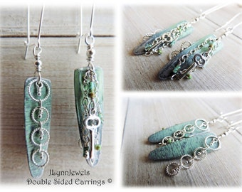 Sage Green Ombre Sterling Silver Circle/Key, Turn-Around Boho Earrings lead free Charms and Czech Glass Seeds Beads