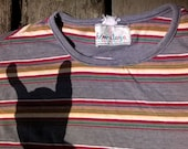 1970s Striped Tee Shirt, Snug Fit Cool for Unisex Adults, Rare and Hard to Find sz Mens Sm and Ladies Medium
