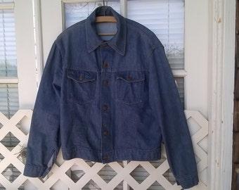 Roebucks Denim Jacket, 60s 70s Denim Jacket, Great condition sz 42, Sears Roebuck Co, made in USA
